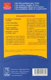 Démographie économique - 4ème de couverture - Format classique