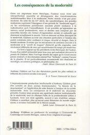 Les Consequences De La Modernite - 4ème de couverture - Format classique