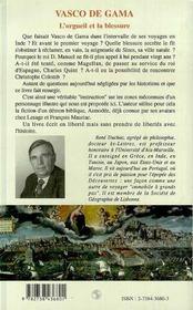 Vasco De Gama ; L'Orgueil Et La Blessure - 4ème de couverture - Format classique