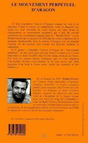 Le Mouvement Perpetuel D'Aragon : De La Revolte Dadaiste Au Monde Reel - 4ème de couverture - Format classique