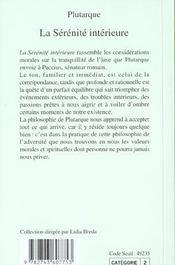 La Serenite Interieure - 4ème de couverture - Format classique