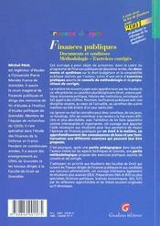 Travaux Diriges De Finances Publiques - 4ème de couverture - Format classique