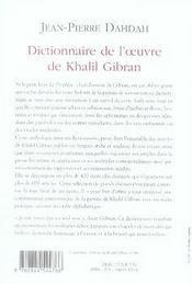 Dictionnaire de l'oeuvre de khalil gibran - 4ème de couverture - Format classique
