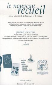 Poésie italienne - Intérieur - Format classique