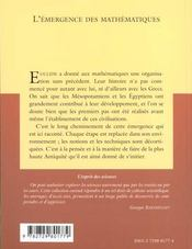 L'Emergence Des Mathematiques No10 - 4ème de couverture - Format classique