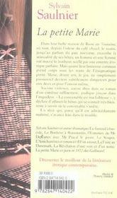 La Petite Marie - 4ème de couverture - Format classique