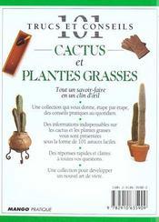 Les cactus et plantes grasses - 4ème de couverture - Format classique