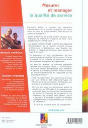 Mesurer Et Manager La Qualite De Service - 4ème de couverture - Format classique