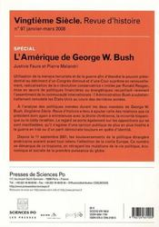 Revue Vingtieme Siecle N.97 ; L'Amérique De George W. Bush - 4ème de couverture - Format classique
