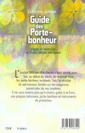 Guide des porte-bonheur - 4ème de couverture - Format classique