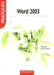 Word 2003 ; livre de l'élève - Couverture - Format classique