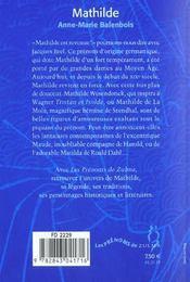 Mathilde - 4ème de couverture - Format classique