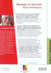 Manager la securite. une volonte. une culture. des methodes. (2e édition) - 4ème de couverture - Format classique