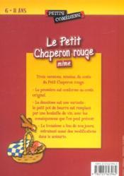 Le petit chaperon rouge, mime ; 6/8 ans - 4ème de couverture - Format classique