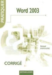 Word 2003 ; corrigé - Couverture - Format classique