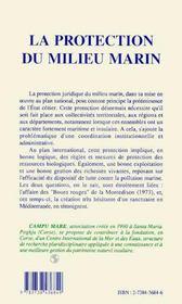 La Protection Du Milieu Marin - 4ème de couverture - Format classique