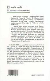 L'Evangile Oublie Ou Les Suites Du Dualisme De Platon - 4ème de couverture - Format classique