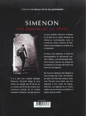 Simenon, Une Legende Du Xx Siecle - 4ème de couverture - Format classique