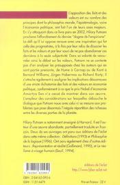Fait/Valeur : La Fin D'Un Dogme Et Autres Essais - 4ème de couverture - Format classique
