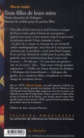 Trois filles de leur mère ; douze douzains de dialogues ; manuel de civilité pour petites filles - 4ème de couverture - Format classique