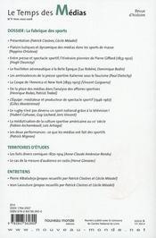 Revue Le Temps Des Medias N.9 ; La Fabrique Des Sports - 4ème de couverture - Format classique