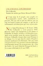 Enfance A Petrograd (Une) - 4ème de couverture - Format classique