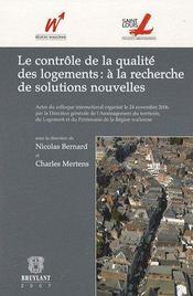 Le contrôle de la qualité des logements ; à la recherche de solutions nouvelles - Intérieur - Format classique