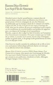 Les Sept Fils De Simenon - 4ème de couverture - Format classique