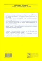 Enseigner le badminton en milieu scolaire (collége, lycée) - 4ème de couverture - Format classique