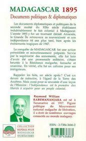 Madagascar 1895 ; Documents Politiques Et Diplomatiques - 4ème de couverture - Format classique