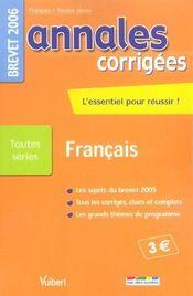 Annales Corrigees ; Francais ; Brevet 2006 - Intérieur - Format classique