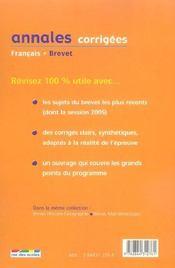 Annales Corrigees ; Francais ; Brevet 2006 - 4ème de couverture - Format classique