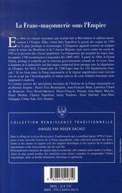 La franc-maçonnerie sous l'Empire - 4ème de couverture - Format classique
