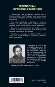 Biboubouah Chroniques Equatoriales ... - 4ème de couverture - Format classique
