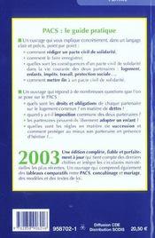 Pacs, Pour Qui, Pour Quoi ? 2003 - 4ème de couverture - Format classique