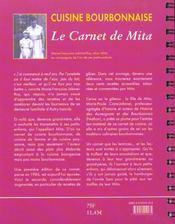 Cuisine bourbonnaise ; le carnet de Mita - 4ème de couverture - Format classique