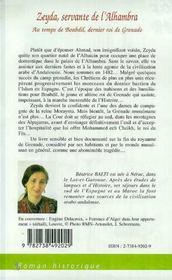 Zeyda, Servante De L'Alhambra ; Au Temps De Boabdil Dernier Roi De Grenade - 4ème de couverture - Format classique