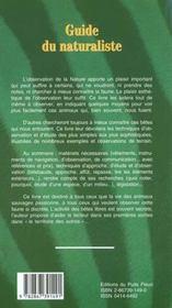 Guide du naturaliste. techniques d'observation et d'etude dela faune sauvage - 4ème de couverture - Format classique