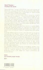 Henri thomas ; l'écriture du secret - 4ème de couverture - Format classique