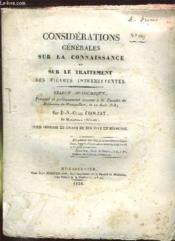 Considerations Generales Sur La Connaissance Et Sur Le Traitement Des Fievres Intermittentes. N° 64. - Couverture - Format classique