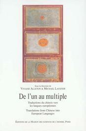 De l'un au multiple ; traduction du chinois vers les langues européennes - Intérieur - Format classique