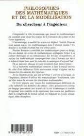 Philosophies des mathématiques et de la modélisation du chercheur à l'ingénieur - 4ème de couverture - Format classique
