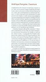 Amerique francaise : l'aventure - 4ème de couverture - Format classique