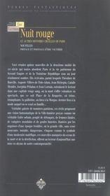 Nuit rouge et autres histoires cruelles de paris - 4ème de couverture - Format classique