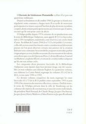 La Bibliotheque Oulipienne T.5 - 4ème de couverture - Format classique