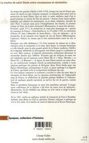 Le mythe de saint denis entre renaissance et révolution - 4ème de couverture - Format classique
