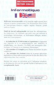 Dictionnaire bilingue informatique francais-anglais/anglais-francais - 4ème de couverture - Format classique