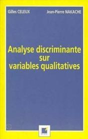Analyse Discriminante Sur Variables Qualitatives - Couverture - Format classique