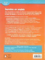 Saynetes en anglais ; 9/13 ans - 4ème de couverture - Format classique