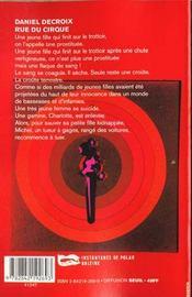 Rue Du Cirque - 4ème de couverture - Format classique